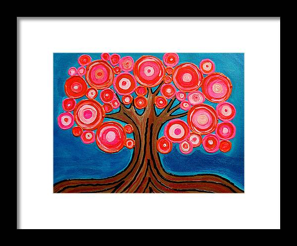 Tree Colorful Bright Funky Playful Pink Orange Abstract Framed Print featuring the painting The Lollipop Tree by Pamela Cisneros