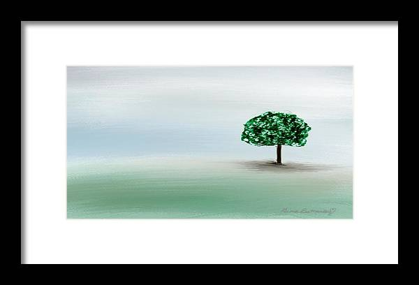 Custom Framed Print featuring the painting The Lone Tree by Gina Lee Manley