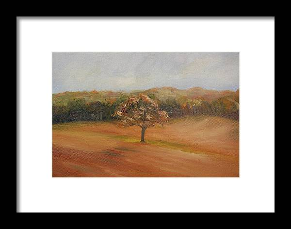 Oil Framed Print featuring the painting The Lone Tree by Lisa Konkol