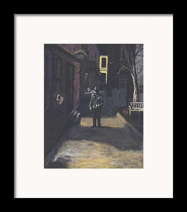 Police Officer Framed Print featuring the painting The Lonely Beat by Jack Skinner