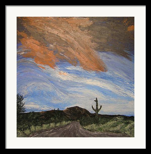 Landscape Framed Print featuring the painting The Lonely Road by Ricklene Wren