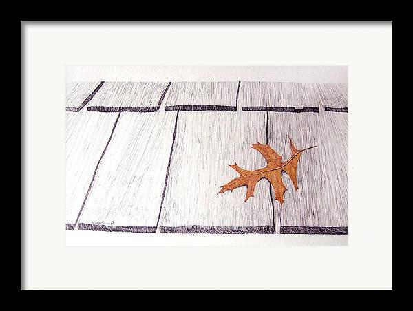 Still Life. Dry Leaf Framed Print featuring the drawing The Loner by A Robert Malcom