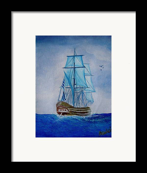 Ship Framed Print featuring the painting The Loner by Glory Fraulein Wolfe