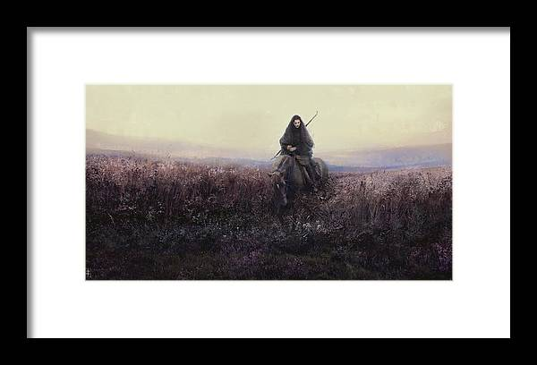 Warrioress Framed Print featuring the painting The Long Ride by Eve Ventrue