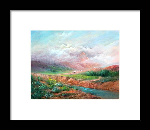 Covered Wagon Framed Print featuring the painting The Long Trail by Sally Seago