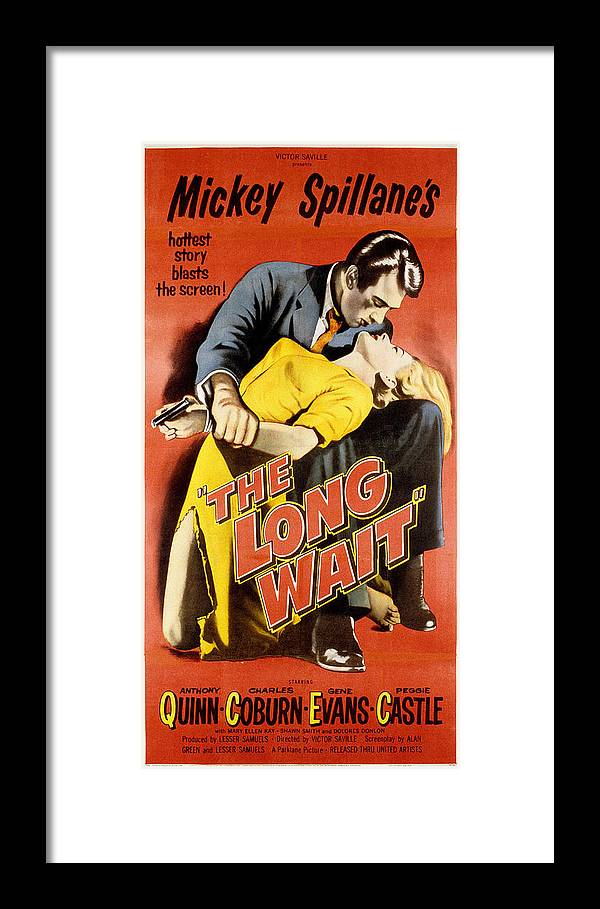1950s Poster Art Framed Print featuring the photograph The Long Wait, Anthony Quinn, Peggie by Everett