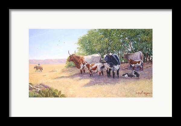 Longhorns Framed Print featuring the painting The Lookers by Howard Dubois