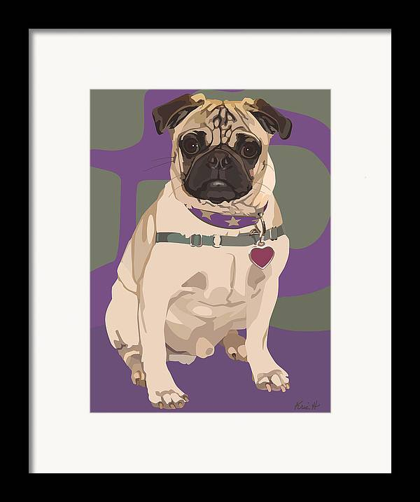Pug Framed Print featuring the digital art The Love Pug by Kris Hackleman