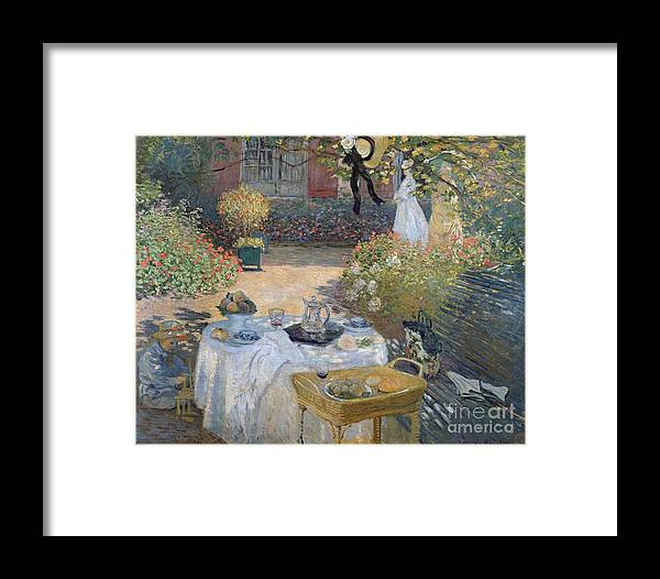 The Luncheon: Monet's Garden At Argenteuil Framed Print featuring the painting The Luncheon by Claude Monet