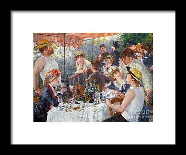 The Framed Print featuring the painting The Luncheon of the Boating Party by Pierre Auguste Renoir