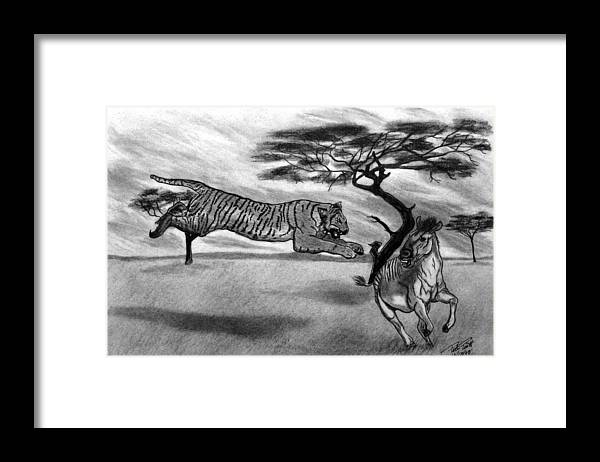 The Lunge Framed Print featuring the drawing The Lunge by Peter Piatt