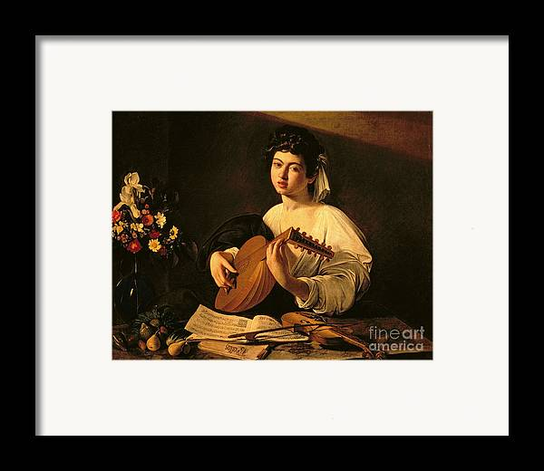 The Lute Player Framed Print featuring the painting The Lute Player by Michelangelo Merisi da Caravaggio