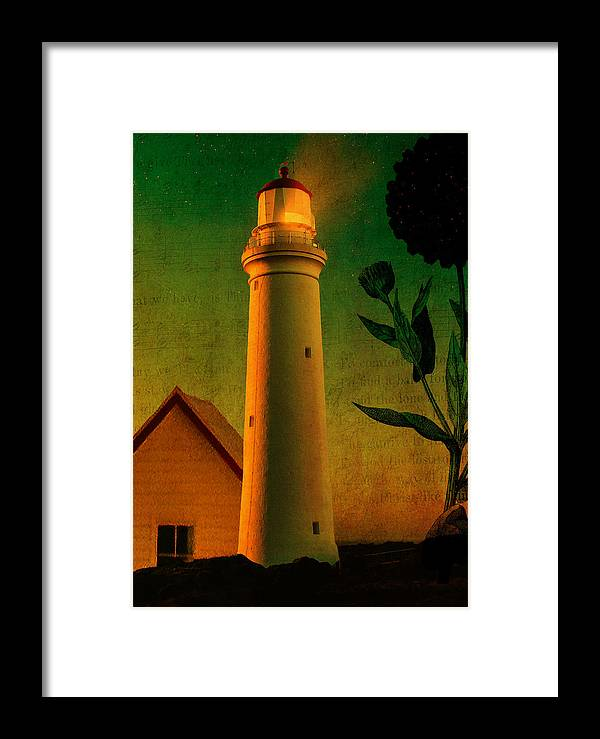 Lighthouse Framed Print featuring the digital art The Magic Lighthouse by Sarah Vernon