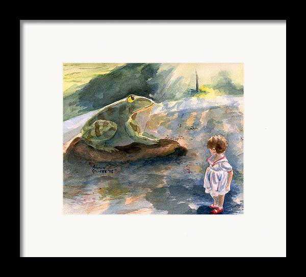 Child Framed Print featuring the painting The Magical Giant Frog by Andrew Gillette
