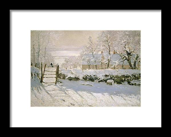 The Framed Print featuring the painting The Magpie by Claude Monet