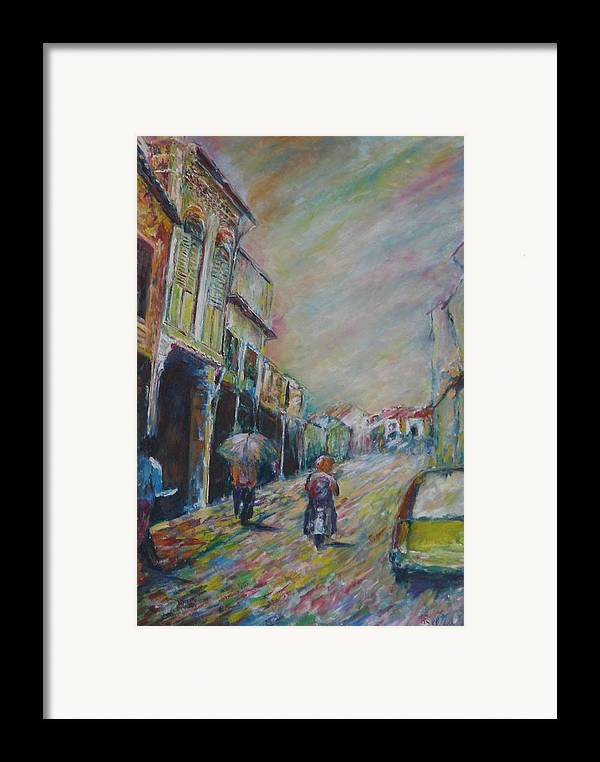 People Framed Print featuring the painting The Malacca Street by Wendy Chua
