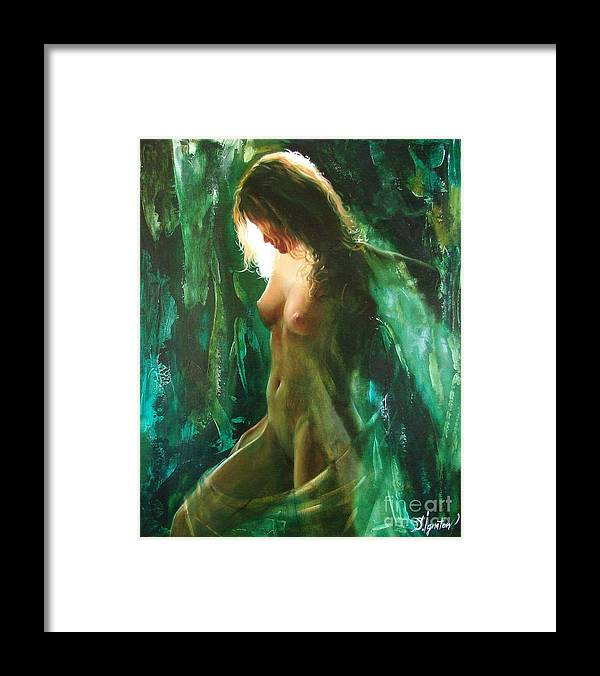 Art Framed Print featuring the painting The malachite light by Sergey Ignatenko