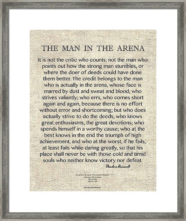 Women Arena Quotes: The Man In The Arena Theodore Roosevelt Motivation T