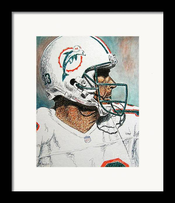 Dan Marino Framed Print featuring the mixed media The Man by Maria Arango