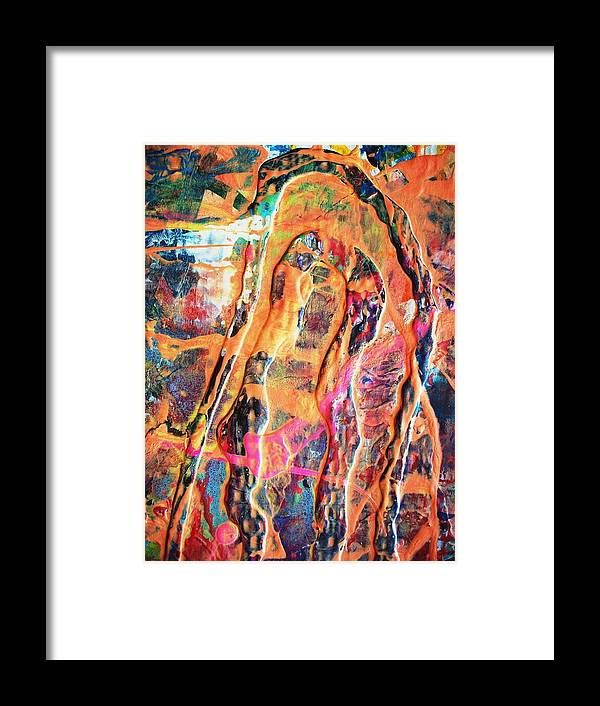 Abstract Framed Print featuring the painting The Many Facets Of Fear by Bruce Combs - REACH BEYOND