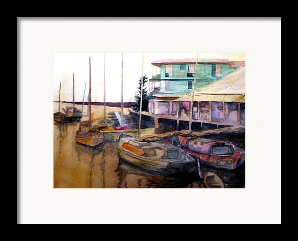 Marina Framed Print featuring the painting The Marina by Jim Phillips