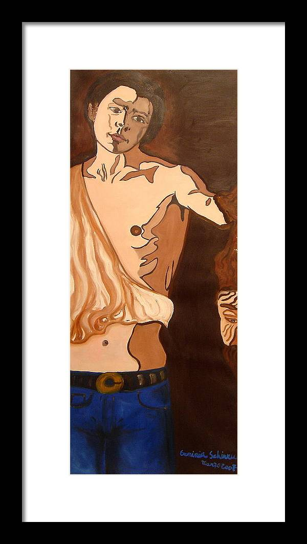 Figurative Framed Print featuring the painting The Mask Man by Erminia Schirru
