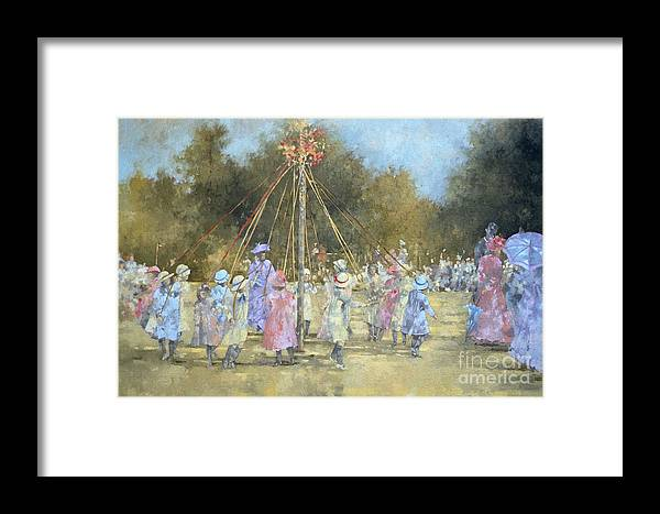 May; Pole; Dancing; Traditional; Tradition; Children; Summer; Folk Dance; Outside; Trees; Parasol; Umbrella Framed Print featuring the painting The Maypole by Peter Miller