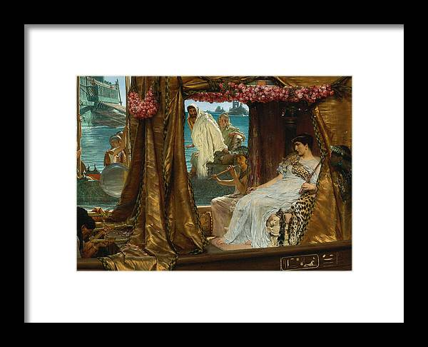Lawrence Alma-tadema Framed Print featuring the digital art The Meeting Of Antony And Cleopatra By Lawrence Alma-tadema by Sarah Vernon