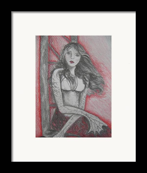 Mermaid Framed Print featuring the drawing The Mermaid Second Close Up by Theodora Dimitrijevic