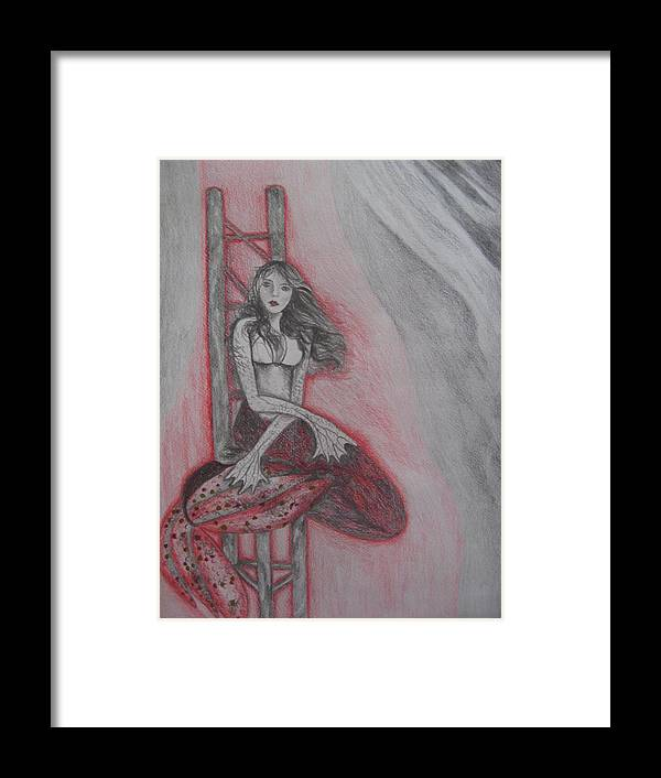 Mermaid Framed Print featuring the drawing The Mermaid by Theodora Dimitrijevic