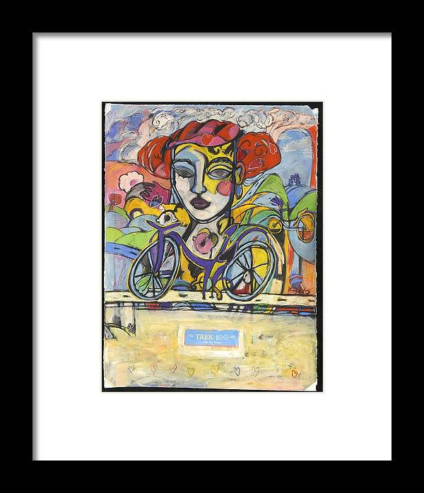 Bicycle Framed Print featuring the drawing the Messenger by Mykul Anjelo