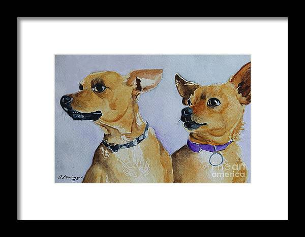 Chihuahua Dogs Framed Print featuring the painting The Mexicans by Patty Strubinger