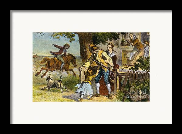 History Framed Print featuring the photograph The Midnight Ride Of Paul Revere 1775 by Photo Researchers