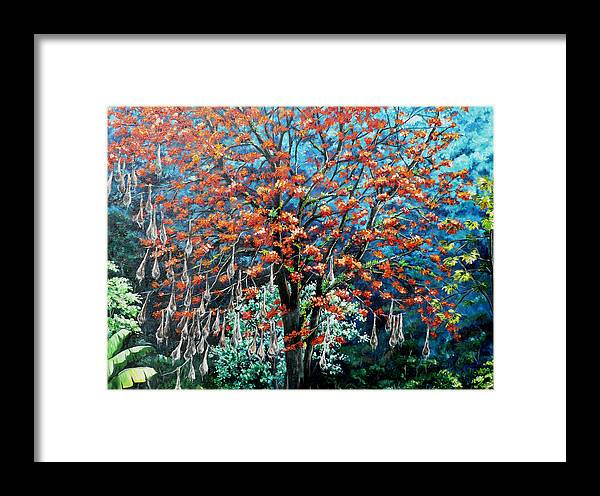 Tree Painting Mountain Painting Floral Painting Caribbean Painting Original Painting Of Immortelle Tree Painting  With Nesting Corn Oropendula Birds Painting In Northern Mountains Of Trinidad And Tobago Painting Framed Print featuring the painting The Mighty Immortelle by Karin Dawn Kelshall- Best