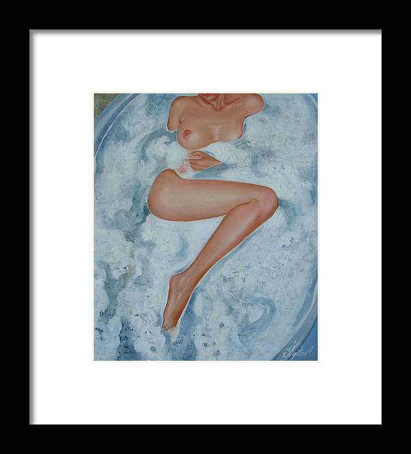 Art Framed Print featuring the painting The Milk Bath by Sergey Ignatenko