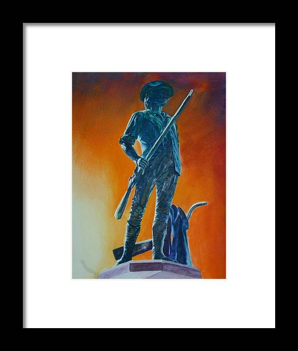 Patriot Framed Print featuring the painting The Minuteman by Dwight Williams