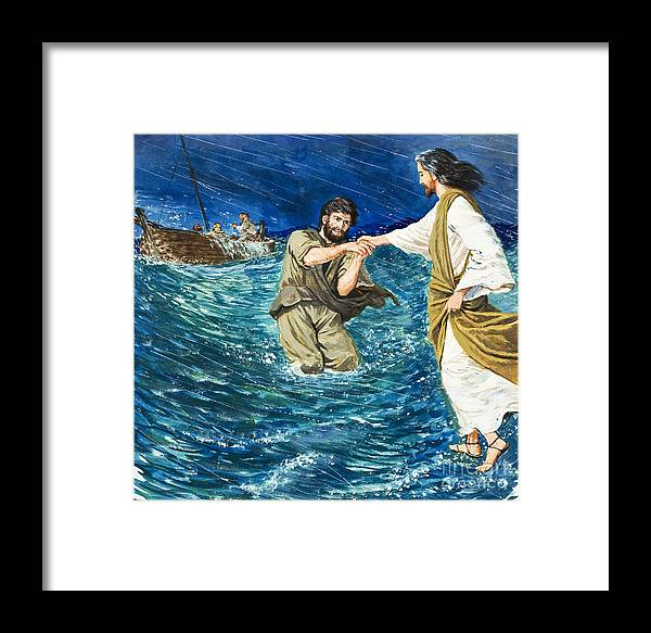 Jesus Christ; Miracle; Saint Peter; St; Lake; Fisherman; Fishing Boat; Storm; Wave; Sinking; Helping; Belief; Believing; Followers Framed Print featuring the painting The Miracles Of Jesus Walking On Water by Clive Uptton