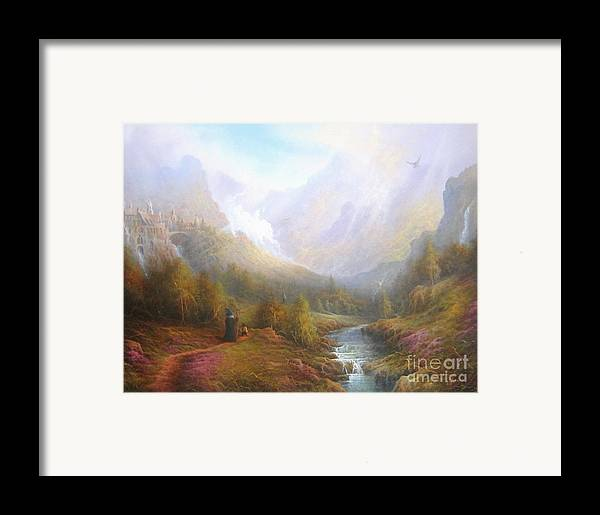 Tolkien Framed Print featuring the painting The Misty Mountains by Joe Gilronan