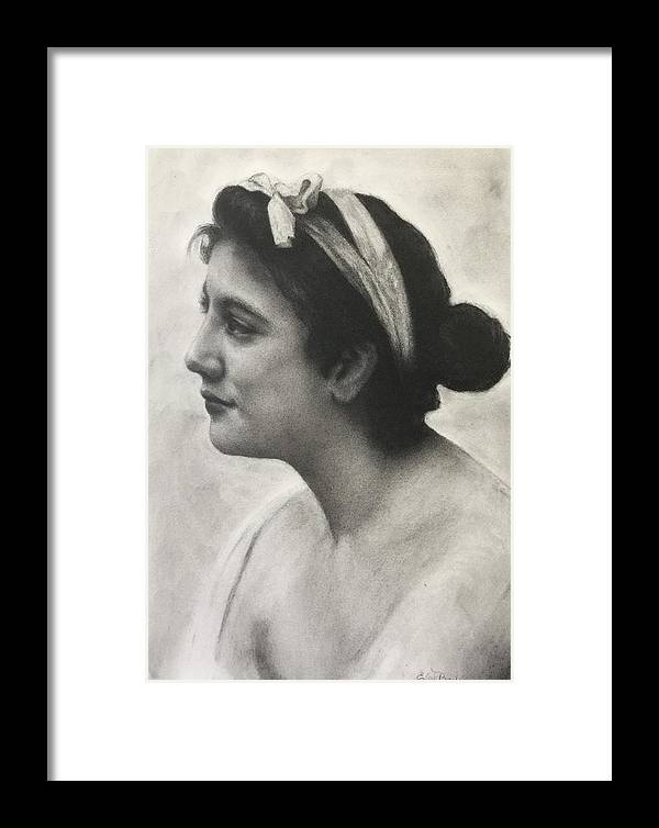 Profile Framed Print featuring the drawing The Model by Elvie Becker
