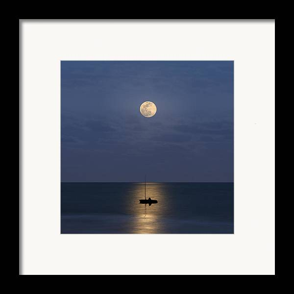 Square Framed Print featuring the photograph The Moon Guide Us by Carlos Gotay