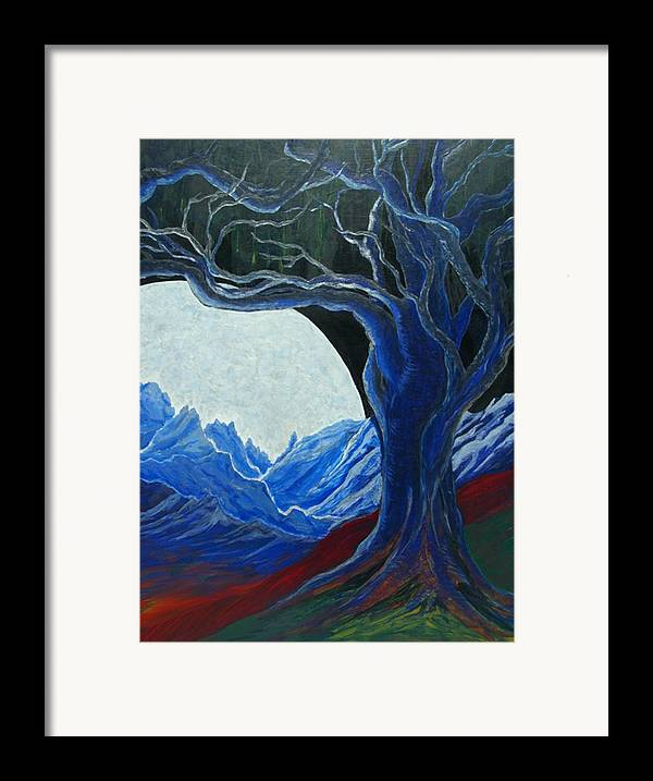 Large Textured Iridescent Moon Framed Print featuring the painting The Moon Rose by Pam Ellis