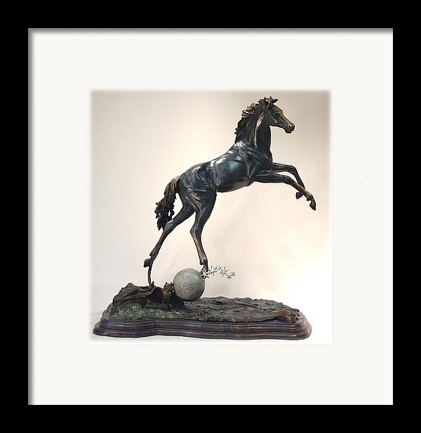 Bronze Framed Print featuring the sculpture The Moonhorse Bronze by Dawn Senior-Trask