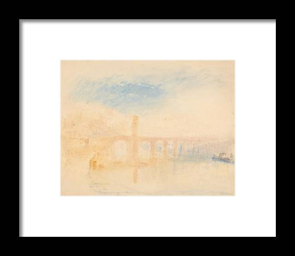 The Moselle Bridge Framed Print featuring the painting The Moselle Bridge, Coblenz by Grypons Art