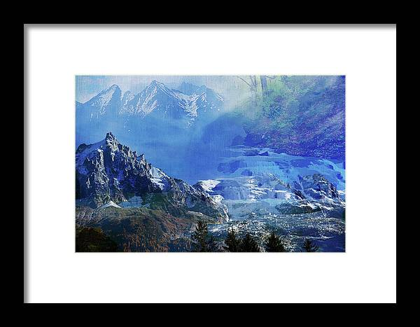 Melt Framed Print featuring the mixed media The Mountains Melting Snows by Clive Littin