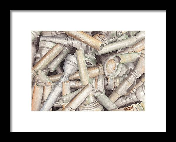 Brass Framed Print featuring the painting The Mouthpiece Jumble Experiment by Ken Powers