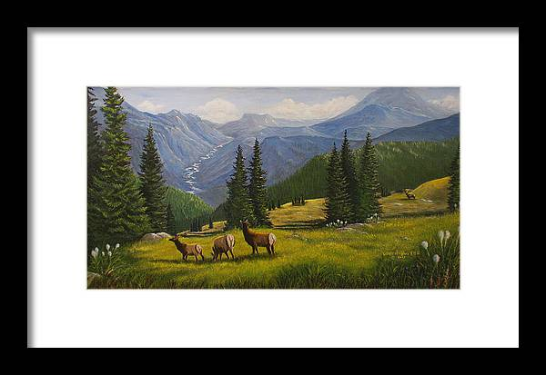 Landscape Framed Print featuring the painting The Moyie Drop by Lucille Owen-Huston