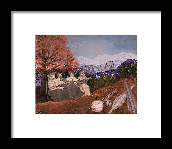 Landscapes Framed Print featuring the painting The Music Ladies by Julia Ellis