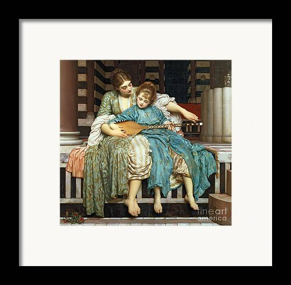 The Music Lesson Framed Print featuring the painting The Music Lesson by Frederic Leighton