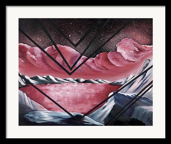 Abstract Landscape Fantasy Framed Print featuring the painting The Mystic Realm by Ara Elena