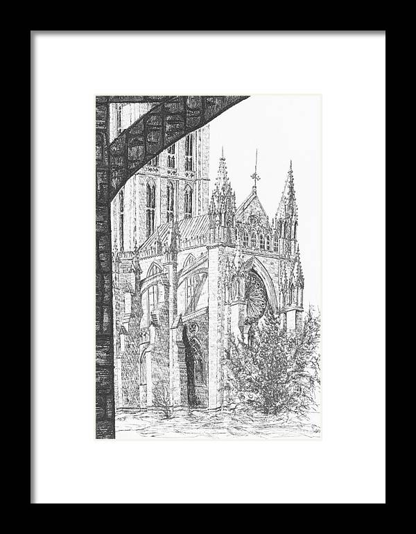 Etching Framed Print featuring the drawing The National Cathedral by Victoria Shea